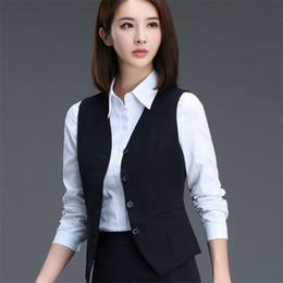 26626b743 2017 Fashion business career ladies vest work wear uniforms Slim V-Neck  Formal vestidos women office vests plus size S-3XL