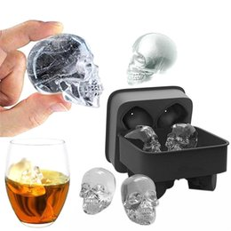 cool ice trays UK - 3D 4 Cavity Skull Ice Cube Mold Cool Whiskey Wine Cube Tray Maker DIY Chocolate Mold Tools