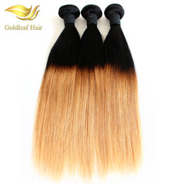 Ombre twO tOne hair extensiOns online shopping - Two Tone Ombre Hair Straight Human Hair Weaving T1B Ombre Hair Extensions Weft Bundles