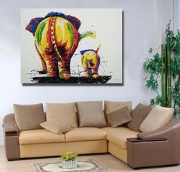 $enCountryForm.capitalKeyWord UK - Framed Elephant Back,Pure Hand Painted Modern Wall Decor Abstract Animal Art Oil Painting On High Quality Canvas. Multi sizes Available DH