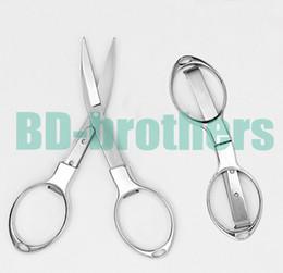 $enCountryForm.capitalKeyWord NZ - New Style Scissors Glasses Shape Tailor Shears Sewing Portable Folding Stainless Steel Scissor For Repairment E-Cigarette Fishing 100pcs