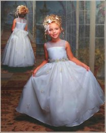 $enCountryForm.capitalKeyWord NZ - Vintage Ball Gown Flower Girls Dresses for Weddings 2016 Jewel Neck Beautiful Applique Princess Kids Birthday Party Gowns Cute Pageant Wear