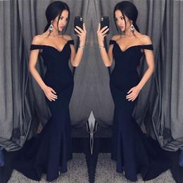 Cheap Zippers Canada - 2018 Off Shoulders Elegant Black Mermaid Evening Dresses Zipper Back Long Sweep Train Cheap Prom Gowns Vintage Vestido Party Wear