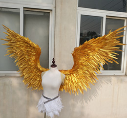Wholesale NEW Costumed beautiful Gold angel feather wings for wedding Photography Display Party wedding decorations EMS