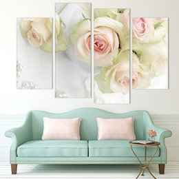 $enCountryForm.capitalKeyWord Canada - Hot Sell 4 panel white rose Flower Large HD Picture Modern Home Wall Decor Canvas Print Painting For House Decorate