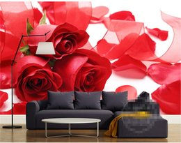kids wedding style dress NZ - 3D Mural Wallpaper Home Decor Background Photography Red Rose Petal Wedding Dress Bathroom Wall Mural for Living Room