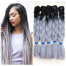 $enCountryForm.capitalKeyWord Canada - STOCK two tone color synthetic yaki braiding hair 2 tone ombre kanekalon jumbo braid box hair (Black Light Gray Color)