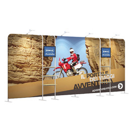 Discount backdrop holders - 20FT Straight Outdoor Free Standing Display Backdrop Tradeshow Stand With Display Rack TV Holder Tension Fabric Printed