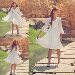 Robes Blanches Fines Pas Cher-Flower Girls Robes Pour Mariage Cheap Pure White Square Neckline Manches longues Flower Girls Longueur au genou Livraison gratuite Dress For Girls