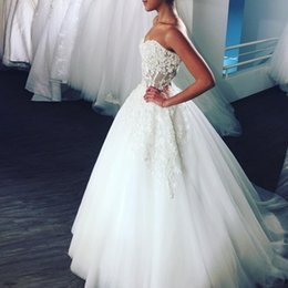 Unique Floral Appliques Lace Wedding Dresses Sweetheart Illusion Bodice Tulle Backless Corset Gowns Bridal