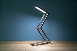 Folding Art Table Canada - fashion portable folding table lamp 3W of LED low-power green LED silver