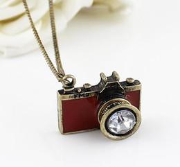 Discount mini necklace camera - Mini Camera Fashion Long Style Sweater Chain Alloy Camera Sweater Chain Diamond Retro Camera Chain Necklace DHL