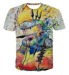 Fashion Tees Canada - New Arrive Colorful Uzumaki Naruto 3D T shirt Summer Men Women Graffiti Style Naruto Short Sleeve T-shirts Fashion Cool Tee Tops