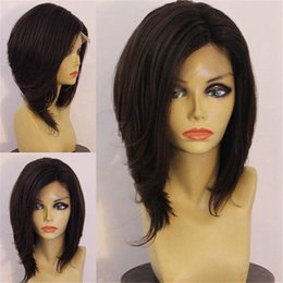 peruvian natural wave half wig NZ - Human Hair Wigs Bob Virgin Brazilian Human Hair Full Lace Wigs Bob Straight Lace Front Human Hair Bob Wigs