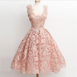 Special Occasion Dresses Juniors Canada - 2016 Pink Homecoming Dresses Vintage Short Scoop Neck Full Lace Special Occasions Gowns Knee Length Junior Prom Dress