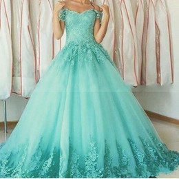 Images 15 Robes Pas Cher-Robes de bal Vintage Aqua Quinceanera Robes Robes de 15 ans Sweetheart hors de l'épaule Lace Appliques Robes de bal Sweet 16 Party Gown