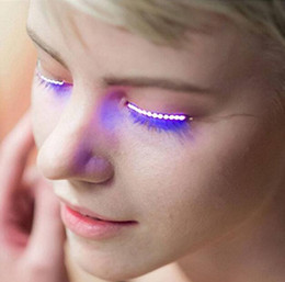 transparent strip false eyelashes NZ - LED Lamp for False Eyelashes Luminous Eyes Party Nightclub Fashion Halloween LED Strips False Eyelash Sticker Posted 3D LED False Eyelashes