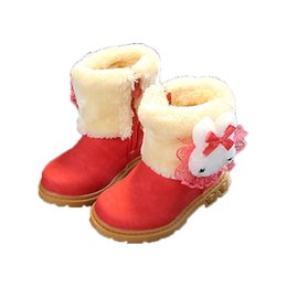 $enCountryForm.capitalKeyWord UK - Girls Winter Warm Plush Lined Mid Calf Boots Child Fashion Cute Lace Bowknot Design Flat With Boot Baby Kids pu Leather Shoes-17