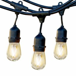 Discount vintage outdoor christmas lights vintage outdoor outdoor commercial string lights 48 feet heavy duty weatherproof vintage patio lights 16 gauge black cable with 15 hanging sockets15 bulbs aloadofball Choice Image