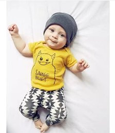Toddler Boys Short Trousers Canada - 2017 Ins New Baby Infant Toddler Cotton Short T Shirts + Pants Suit Children Cartoon Tops Tees Harem Trousers Girl Boy Outfits Clothing Sets