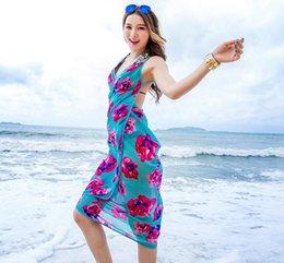 509eb54c79 Chiffon Beach Dress Smock Wrap Bohemian Bikini Cover Up Sarong Braces Skirt  Sunscreen Shawl Backless Beachwear Swimwear Swimsuit Scarf