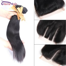 Discount amazing hair weave Amazing Free Middle Three Part Straight Virgin Brazilian Top Lace Closure with 3 Bundles Human Hair Weaves Cheap Brazill