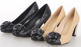 Dress camellia online shopping - Top quality Brand Design Camellia flowers High heeled shoes Genuine Leather Woman s sexy Quilted high heels Wedding shoes