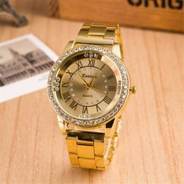 new trendy watches men Canada - Trendy Man Woman Luxury Stainless Steel Crystal Watch Business Casual Analog Quartz Watch Top Brand New Dress Watch for Mens Women