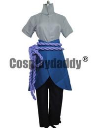 Wholesale sasuke cosplay resale online - Naruto Cosplay Uchiha Sasuke Halloween Set Costume
