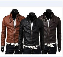 Barato Casacos De Couro Com Gola Comprida-PU Leather Men Jacket Fashion Stand Collar Slim Short Jacket Casual Tiered Button Long Sleeve Zipper Machine Wagon Jacket
