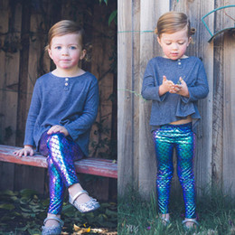 Barato Leggings Quentes Meninas Azul-2017 Ins Hot Baby Boy Girl Mermaid Bottom Pants Leggings Deep Blue Escala de peixe Gradiente Harem Calças Calças Casual 1-3T