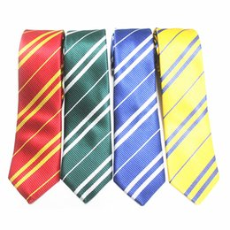 Barato Gravata Infantil Por Atacado-Kids Harry Potter Ties Hogwarts Gryffindor / Slytherin / Ravenclaw / Hufflepuff Striped Necktie Cosplay Gift for Children Nenhum Badge Atacado