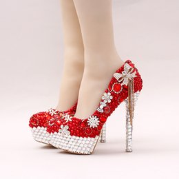 Rhinestone tassels stiletto pumps online shopping - 2019 Red Color Gorgeous Pearl Bridal Shoes Rhinestone Bow Tassel Wedding Dress Shoes Women Party Prom High Heels Lady Valentine Pumps