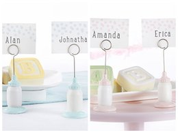 name place holder cards 2019 - Cute Baby shower favors Classic Pink Baby Bottle Place Card Holder baby Decoration Gift (blank name card as real photo )