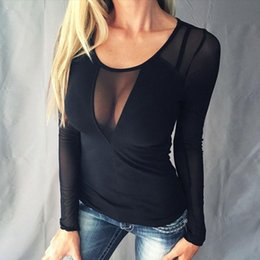 Barato Sólido Ver Através Blusa-Hot Women Sexy Splice Mesh Blusas 2017 Blusas Femininas Long Sleeve O Neck Casual Sólido Slim See Through Shirts Tops Tees