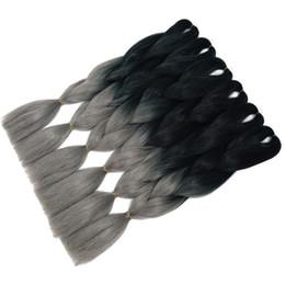 Ombre Kanekalon Jumbo Braid Hair UK - 24Inch 3 Toned Grey Color Jumbo Kanekalon Ombre Synthetic Braiding Hair Bundles 100G Pc High Temperature Braids Hair Extensions
