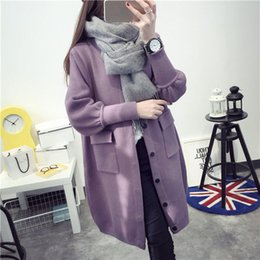 Barato Camisolas De Cardigans De Inverno-Mferlier Mori Girl Winter Autumn Sweaters para mulheres Casacos de manga comprida Casacos de inverno Pink Grey Black and Purple colors