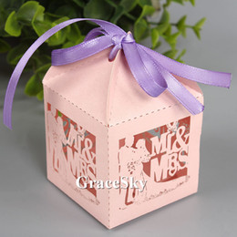 Groom Party Decorations NZ - 100pcs lot Laser Cutting Bride & Groom Design Paper Chocolate Candy Boxes Paper for Wedding Anniversary Party Decoration,Free shipping