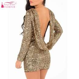 Robes À Manches Longues Mini Sequin Pas Cher-Robes de cocktail à manches longues et marbrées Robes de cocktail en or Mini / Short Robes de soirée Robes de soirée Robes de soirée à manches