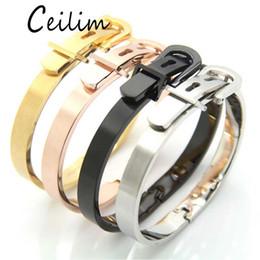 Mexican Belt Canada - High Quality 316L Titanium Steel Wide Belt Buckle Bracelet Charm Gold Cuff Belt Bangles Size For Women Men Pulseira Feminina 2017 Luxury