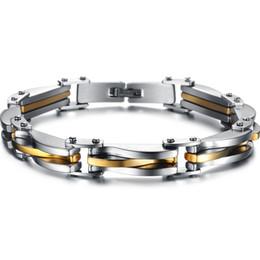Großhandel Schwermetall Edelstahl Silber / Vergoldet Textur Manschettenknopf Kette Armband Cool Biker Herren Schmuck Geschenke