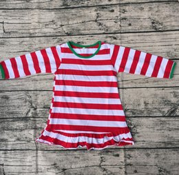 $enCountryForm.capitalKeyWord Canada - Christmas Long Sleeve Green Cuff Dress Children Red Stripe Ruffle Bottom Clothing High Quality Baby Girls Cotton Frocks Designs Dress