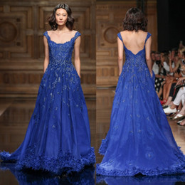 Robes De Quartier De Tony Pas Cher-2017 robe Tony Ward Feather Robes de bal long Scoop Décolleté A-Ligne bleue perlée Parti Cheap pailletée Robes de soirée