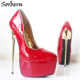 Patent leather Platform sexy shoes online shopping - Sorbern Red Patent Leather PU Shoes CM Ultra High Heel Women Pumps Luxury Quality Gold Metal Heel Platform Sexy Fetish Dance Party Shoes