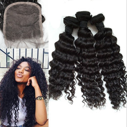 cambodian virgin hair deep waves 2019 - 3 Bundles with Lace Closure Cambodian Virgin Hair Top Quality Deep Wave Curly Weaves with Closure G-EASY cheap cambodian