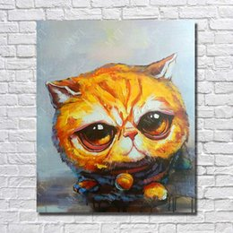 Discount hand pussy - Pussy Oil Painting for Home Decor Wall Art Decorative Living Room Wall Pictures Hand painted Animal Oil Painting