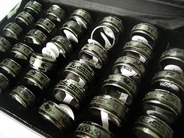 Bulk Mix Jewelry NZ - wholesale bulk lots 100pcs mixed men's high quality stainless steel Black Color fashion jewelry spinner rings brand new