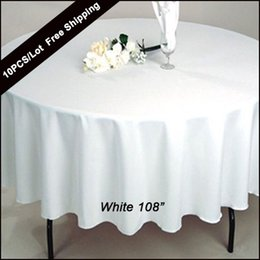 10pc pack 108 inch round wedding table cloth 100 polyester seamless white cheap tablecloths fitted home table cloth for wedding event decor