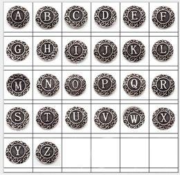 Bezel Bulk Canada - wholesale Bulk Lots 26pcs mixed 18mm English Alphabet Snap Buttons Charm Chunk Rhinestone Ginger Interchangeable copper alloy Snaps Jewelry