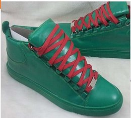 Discount snekers shoes Chrismas gift for 2015 Men's Fashion Sneaker Shoe Flat Genuine Leather Arena Sneakers Size 39-46 High Top Snekers C